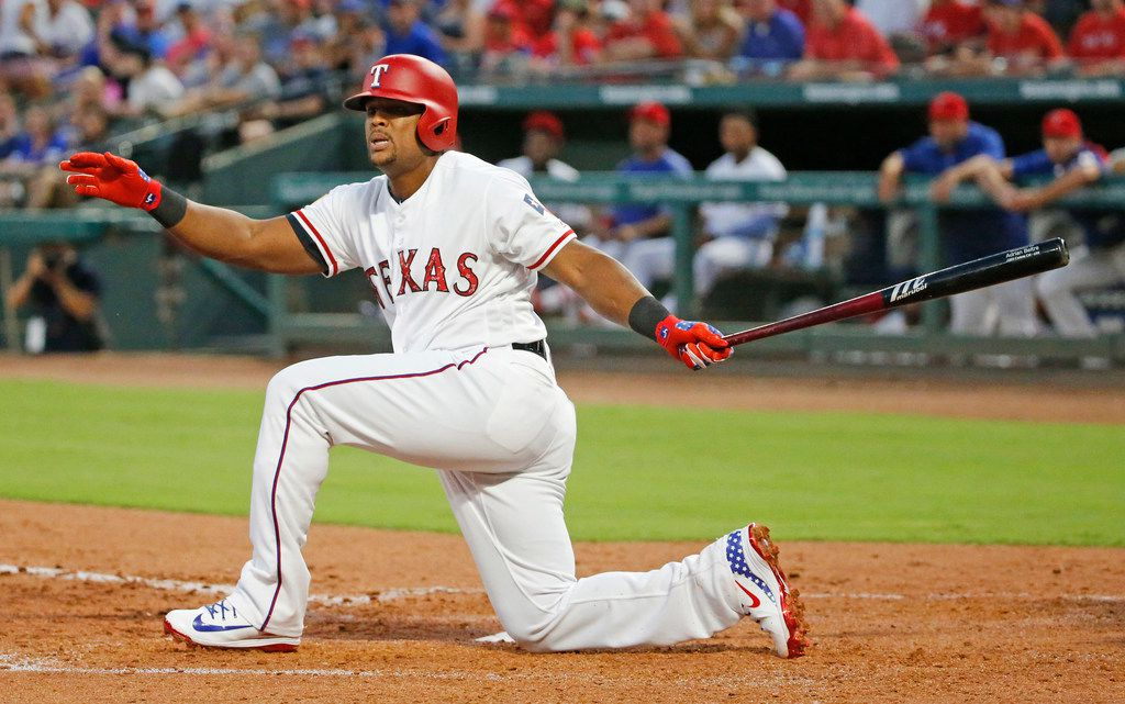Texas Rangers third baseman Adrian Beltre (29) fouls off a fourth inning pitch during the Houston Astros vs. the Texas Rangers major league baseball game at Globe Life Park in Arlington.