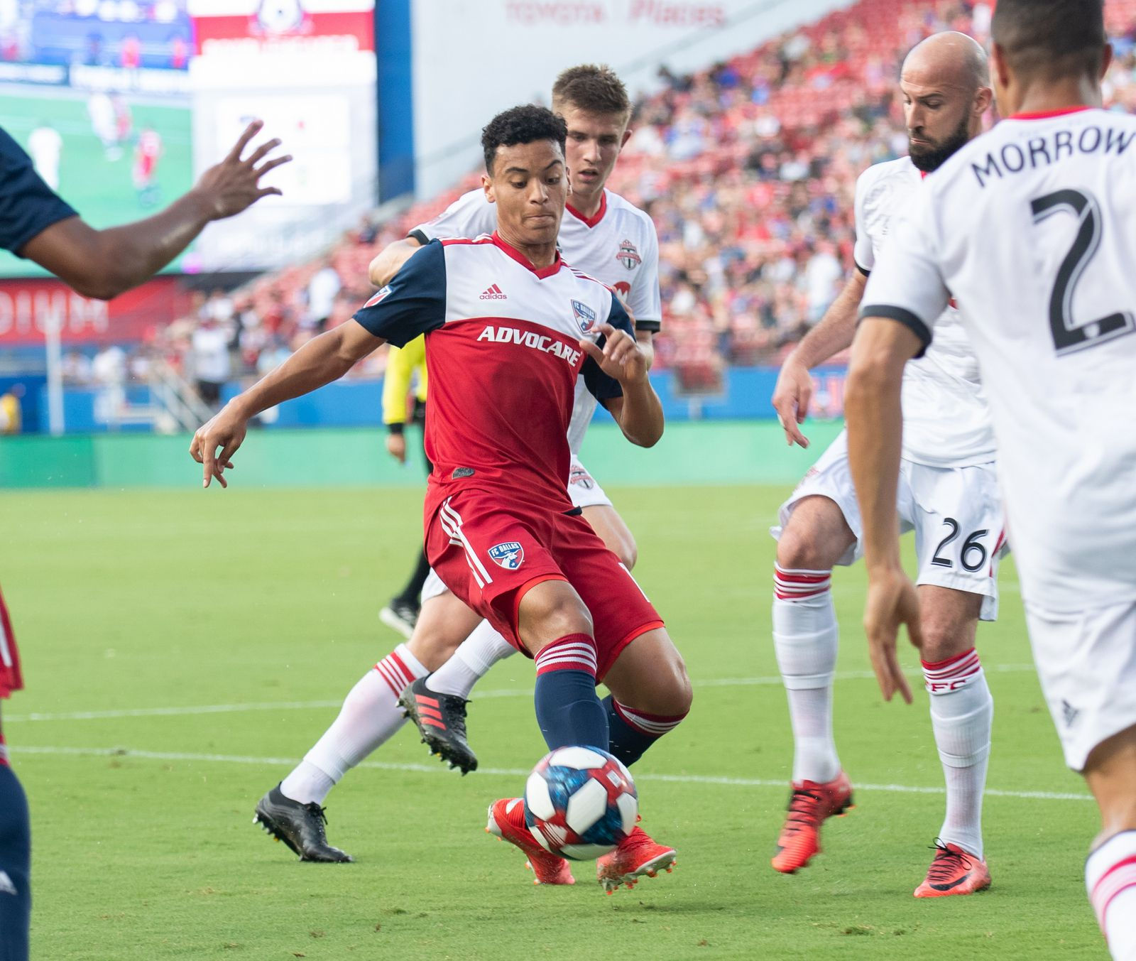 DALLAS, TX - JUNE 22: Brandon Servania action during the MLS soccer game between FC Dallas and Toronto FC on June 22, 2019 at Toyota Stadium in Frisco, Texas.  (Photo by Matthew Visinsky)