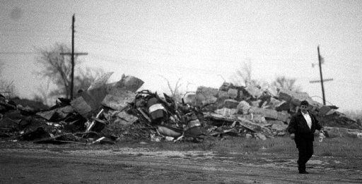 Rubble at the compound one year after the February 28 gunbattle that started the standoff.