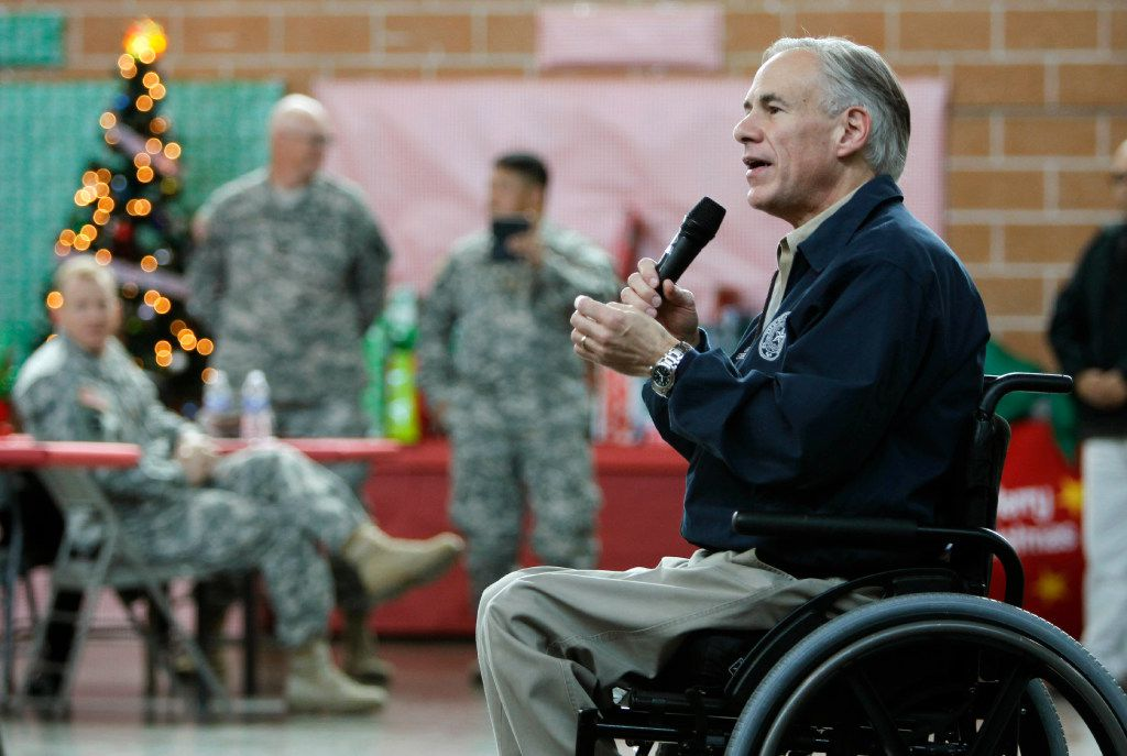 Texas Gov. Greg Abbott addresses members of the Texas National Guard, who are deployed on the border of Mexico in Weslaco. (Nathan Lambrecht/The Monitor via AP)