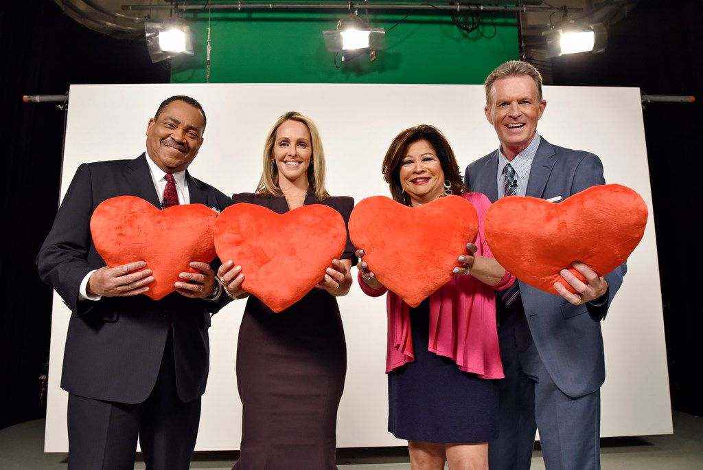 From left: Local TV evening news anchors John McCaa, WFAA-TV (Channel 8); Meredith Land, KXAS-TV (NBC5); Clarice Tinsley, KDFW-TV (Channel 4); and Doug Dunbar, KTVT-TV (Channel 11) recently filmed a PSA for Giving Tuesday.