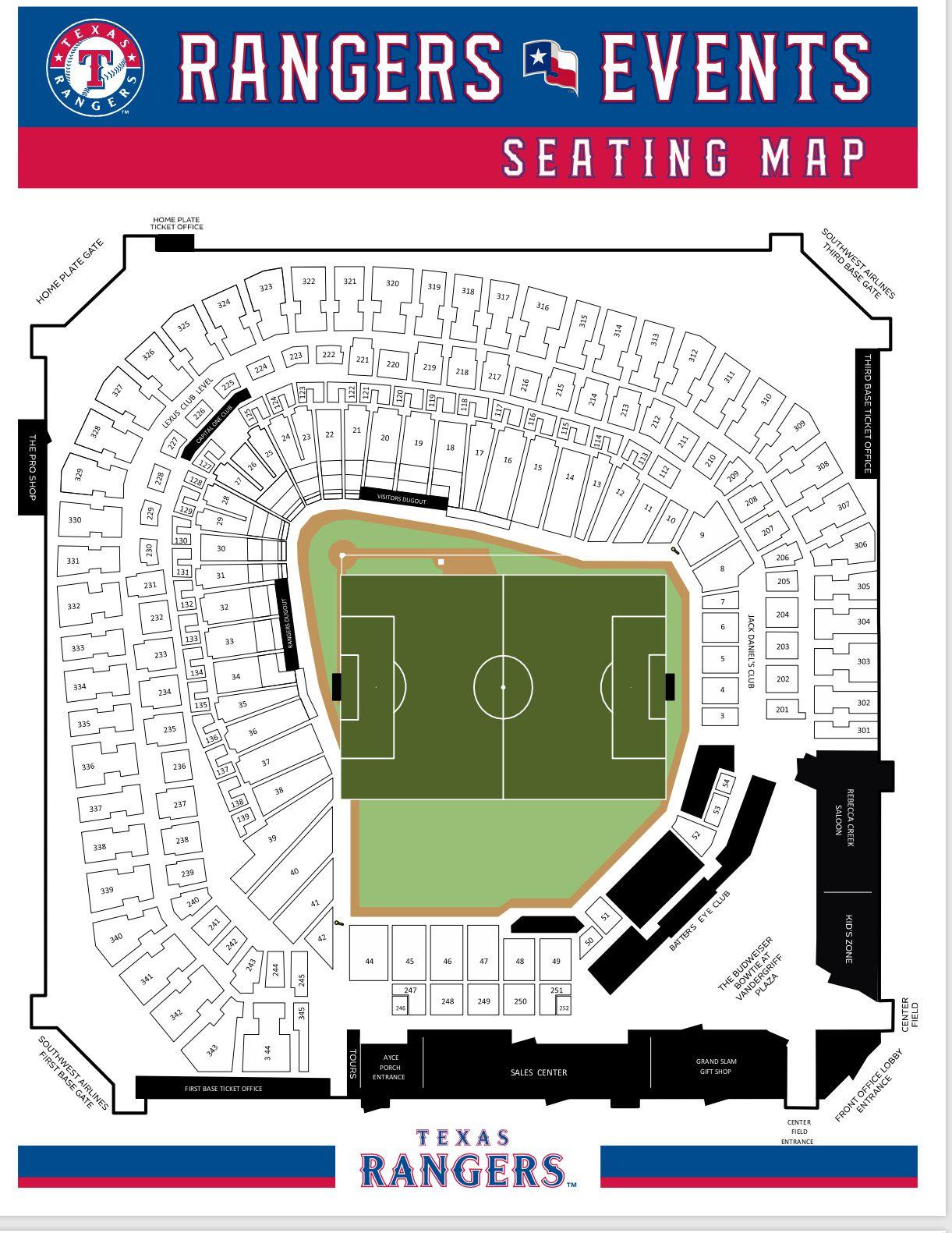 Ubicación de la cancha de futbol en el Globe Life Park. Cortesía Relevant Sports