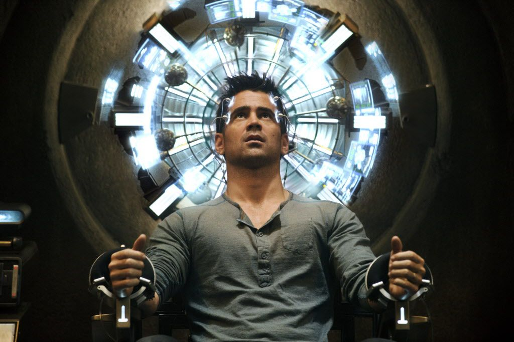 """This film image released by Columbia Pictures shows Colin Farrell in a scene from the action thriller """"Total Recall."""