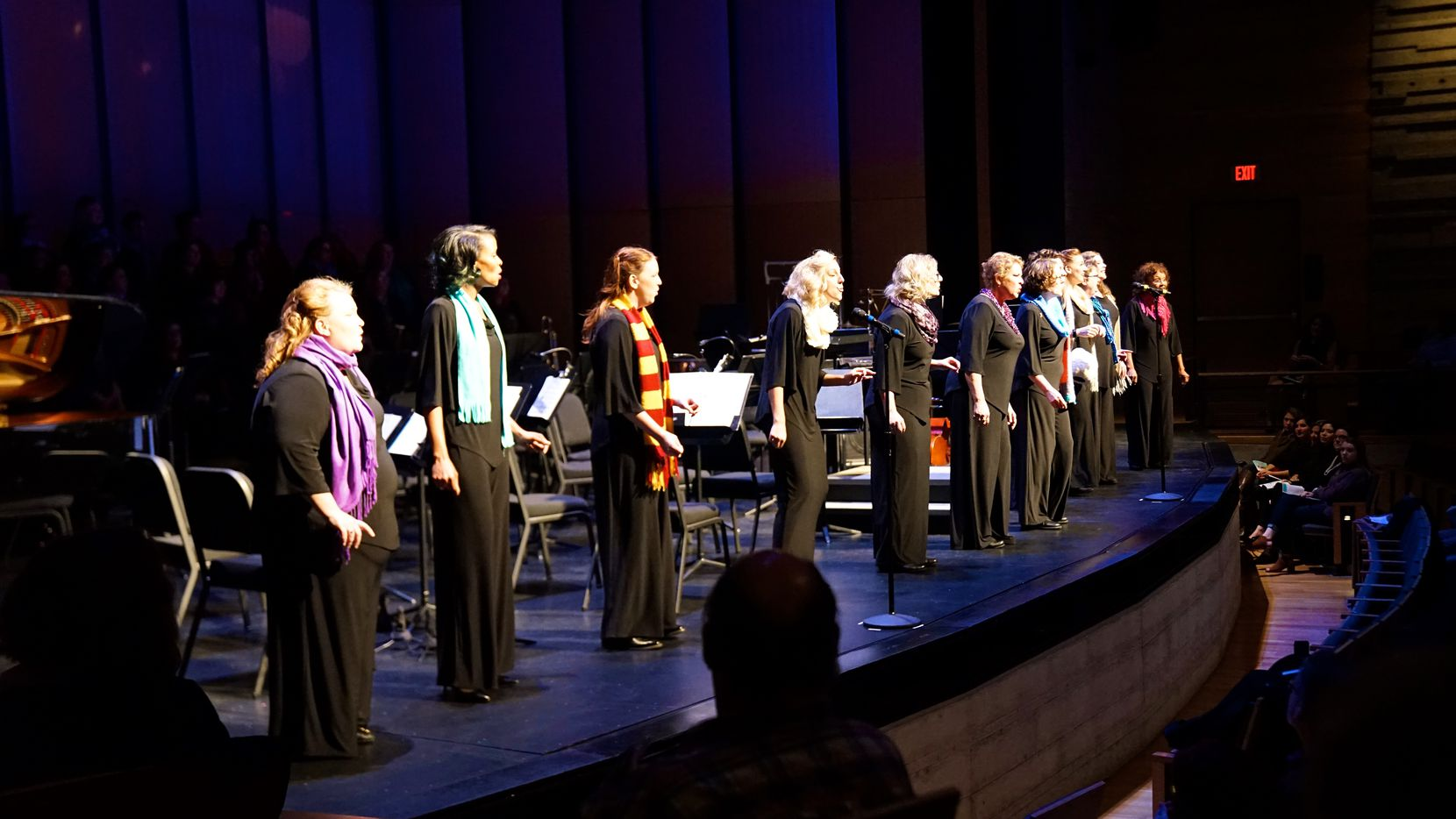 Member of the Dallas Women's Chorus perform at Moody Performance Hall.