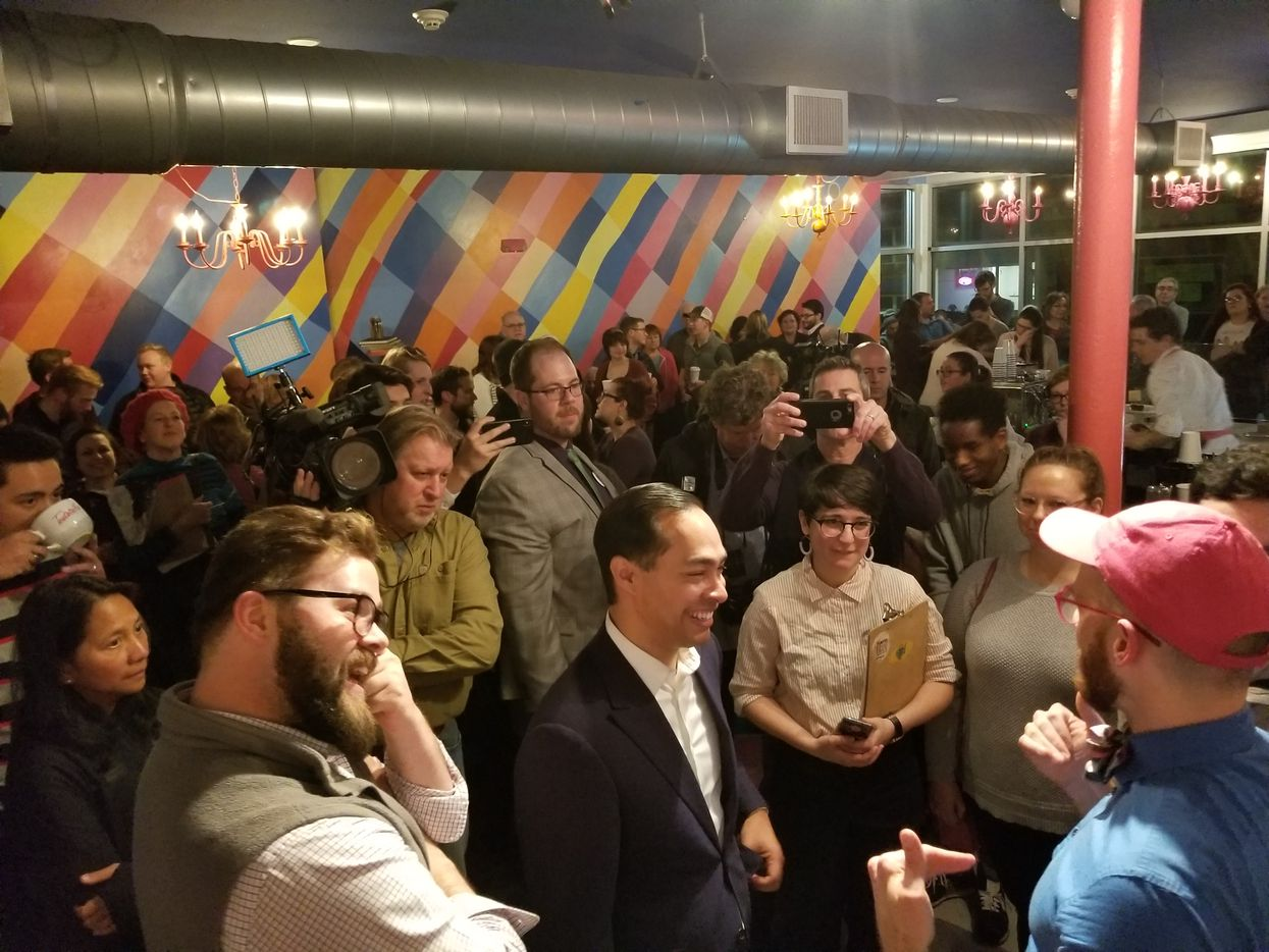 Julian Castro stumped in Somersworth, N.H., on Tuesday Jan. 15, 2019 — his first stop in New Hampshire after announcing his candidacy for president.