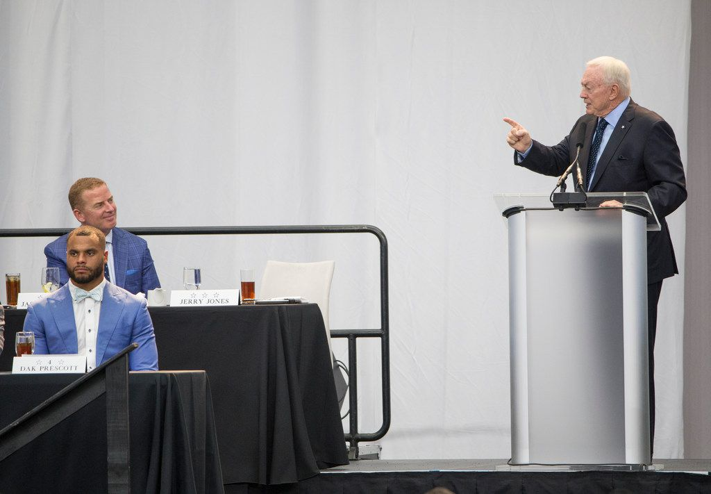 Owner Jerry Jones speaks during the annual Cowboys Kickoff Luncheon at AT&T Stadium in Arlington, Texas on Wednesday, August 29, 2018. (Ryan Michalesko/The Dallas Morning News)