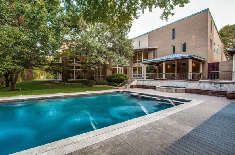 The North Dallas house sits on almost two acres.