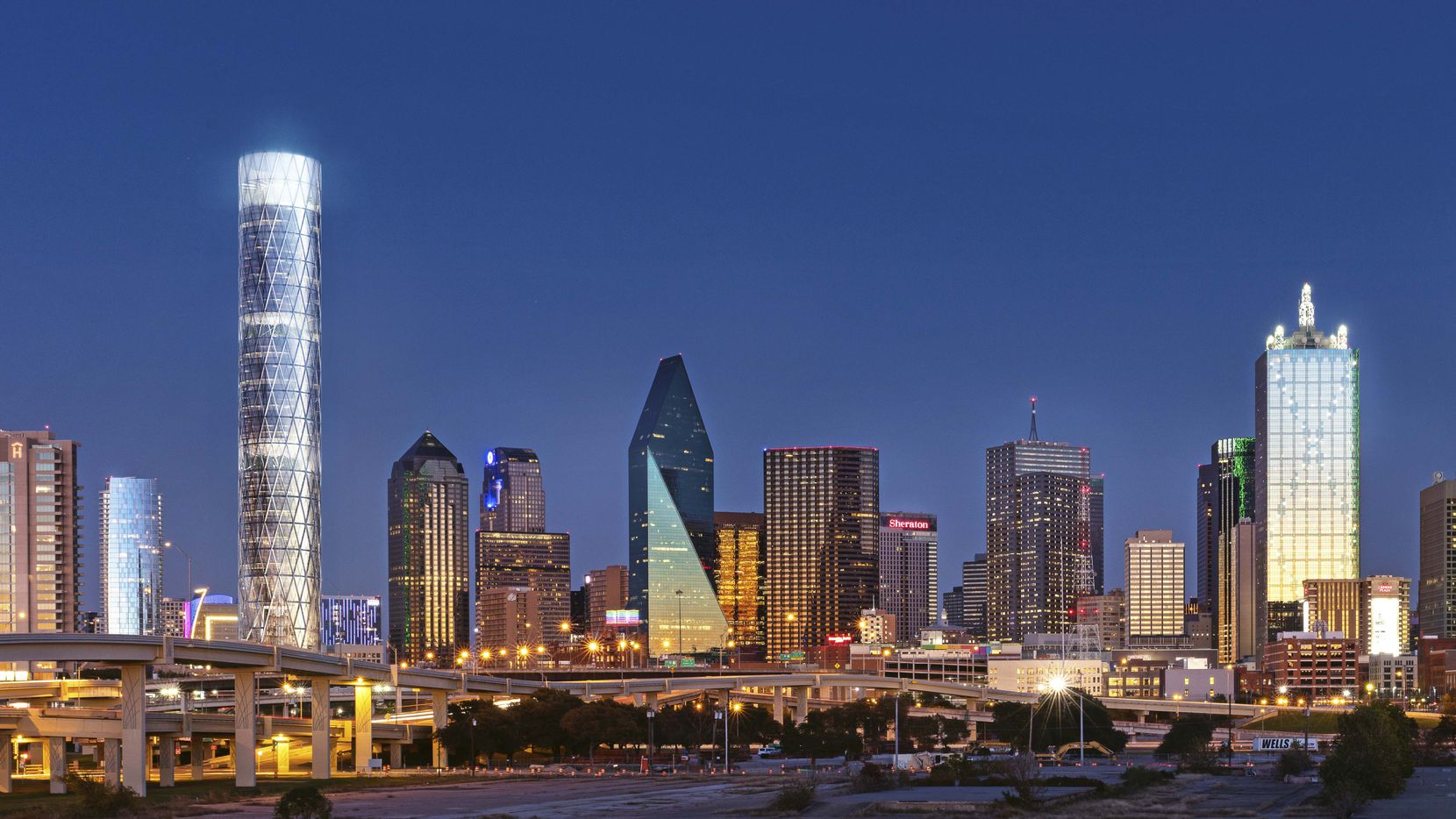 London-based Foster + Partners designed the round office tower for a vacant block on the north side of downtown Dallas.
