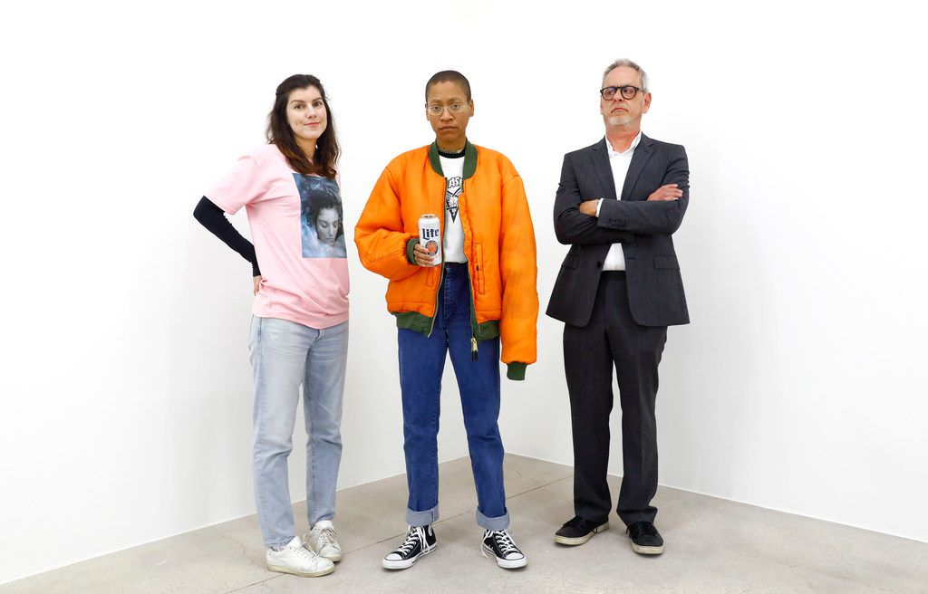 Artists from left, Michelle Rawlings, Pierre Krause and Jeff Zilm at And Now gallery in Dallas