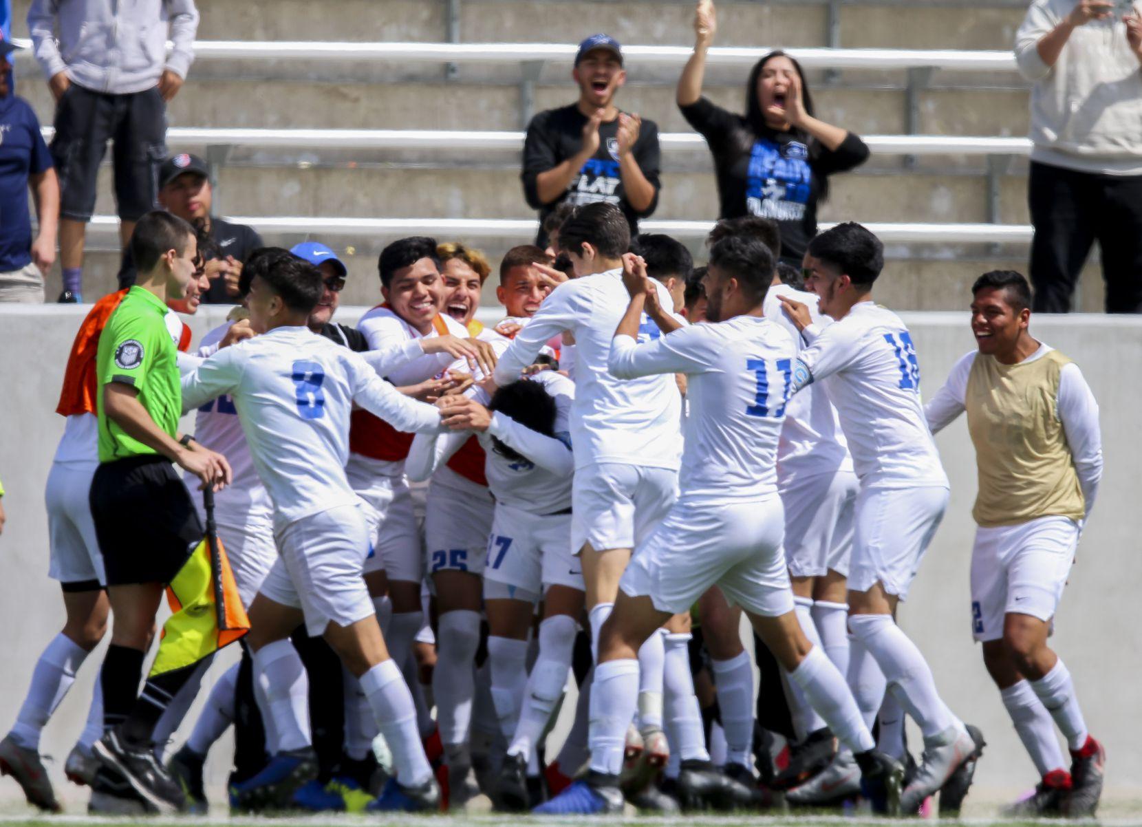 Grand Prairie celebrates a Baltazar Jimenez goal during a Class 6A Region I semifinal soccer game at McKinney ISD Stadium in McKinney, Texas on Friday, April 12, 2019. (Shaban Athuman/Staff Photographer)