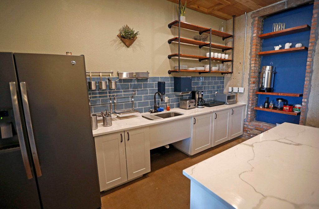 A kitchen area at Deep Ellum Hostel in Dallas, Thursday, July 12, 2018. (Jae S. Lee/The Dallas Morning News)