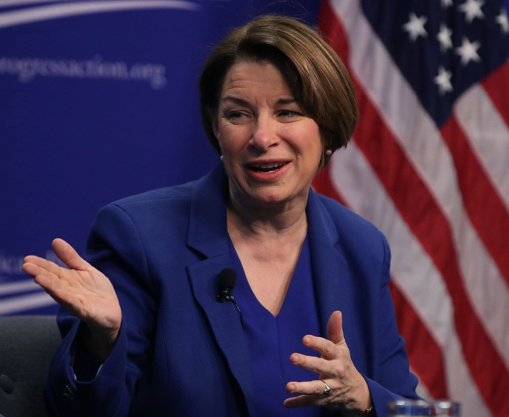 U.S. Sen. Amy Klobuchar, D-Minn., participates in a discussion at the Center for American Progress Action Fund on March 5 in Washington, DC.