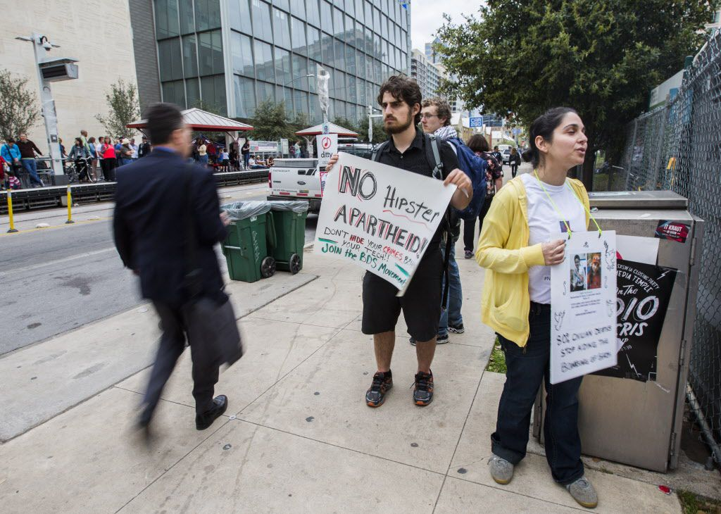 Ben Goodman and Fatemeh Sanjar, both of Austin, Texas protest the SXSW festival for allowing the Israeli government to sponsor events.