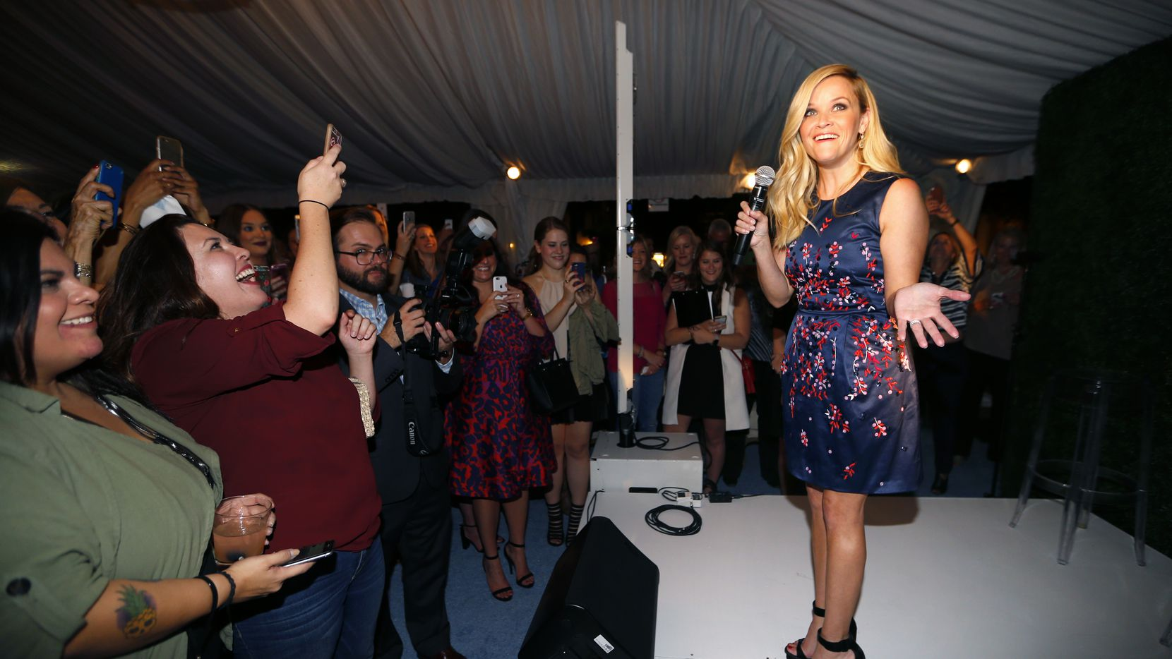 Oscar-winning actress Reese Witherspoon made an appearance at the opening of her second Draper James store, this one in Highland Village in Dallas, Wednesday, September 28, 2016.