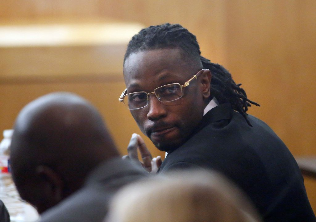 Kristopher Love looks back before the start of his capital murder trial in the 363rd district court of the Frank Crowley Courts Building in Dallas, on Monday, October 22, 2018. Love is the accused gunman in the 2015 slaying of pediatric dentist Kendra Hatcher. (Vernon Bryant/The Dallas Morning News)