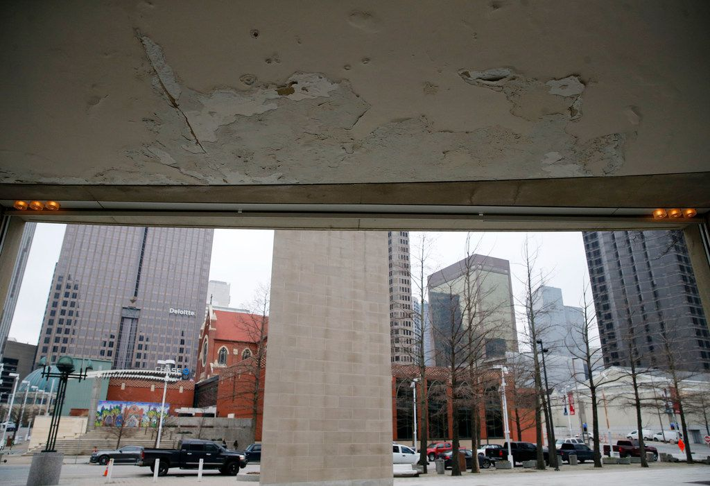 More water damage in the Meyerson lobby