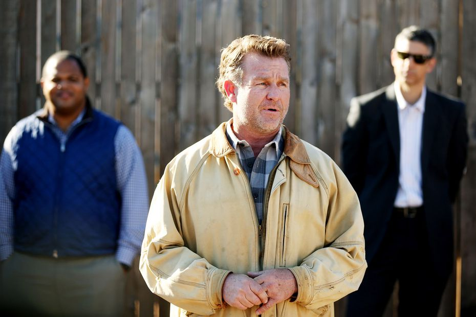Daron Babcock, founder of Bonton Farms, speaks during a groundbreaking and check donation ceremony for the market at Bonton Farms on Tuesday.