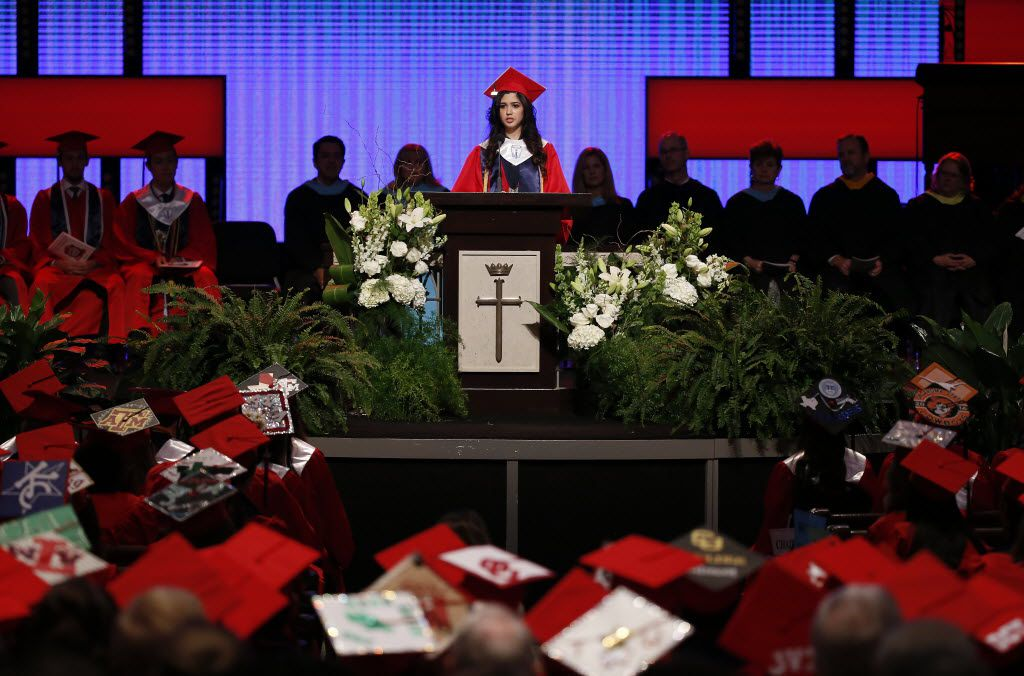 Valedictorian Larissa Yanin Martinez delivers a speech during the McKinney Boyd High School Commencement ceremony at Prestonwood Baptist Church on Friday, June 3, 2016, in Plano, Texas. (Jae S. Lee/The Dallas Morning News)