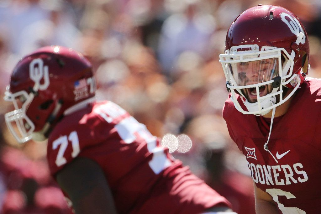 Oklahoma Sooners quarterback Baker Mayfield (6) calls out a play in the second half during the Red River Showdown between the Oklahoma Sooners and Texas Longhorns at the Cotton Bowl at Fair Park in Dallas Saturday October 8, 2016. Oklahoma Sooners beat Texas Longhorns 45-40. (Andy Jacobsohn/The Dallas Morning News)
