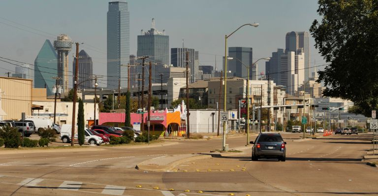View along Zang Boulevard at Beckley Avenue in the heart of the Oak Cliff Gateway area. (Ron Baselice/The Dallas Morning News)