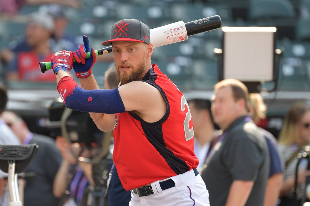 CLEVELAND, OHIO - JULY 09: Hunter Pence #24 of the Texas Rangers warms up prior to the 2019 MLB All-Star Game at Progressive Field on July 09, 2019 in Cleveland, Ohio. (Photo by Jason Miller/Getty Images)