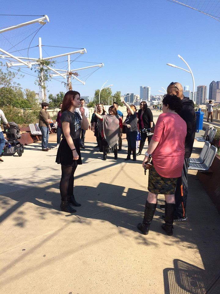 Nikki Cloer waiting for Ashley H. White and John Holmes  to set up the shot for the 'Hallelujah' music video.w