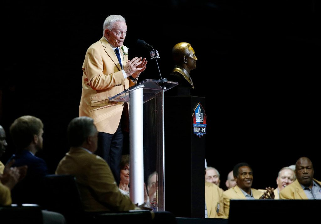 2017 Pro Football Hall of Fame inductee and Dallas Cowboys owner and general manager Jerry Jones speaks about his family during the 2017 Pro Football Hall of Fame Enshrinement Ceremony at Tom Benson Stadium in Canton, Ohio on Saturday, August 6, 2017. (Vernon Bryant/The Dallas Morning News)