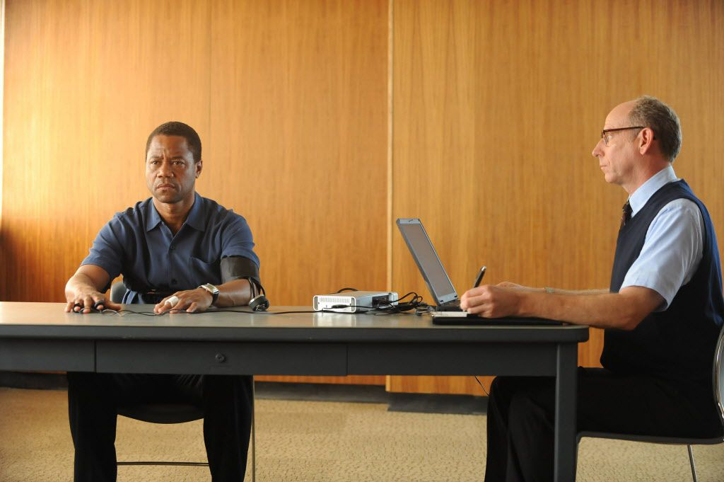 "Cuba Gooding Jr.'s  O.J. Simpson takes a lie detector  test in ""The People v. O.J. Simpson: American Crime Story,"" a 10-part series debuting Tuesday, Feb. 2, at 10 p.m. EST Tuesday.  (Ray Mickshaw/FX via AP)"