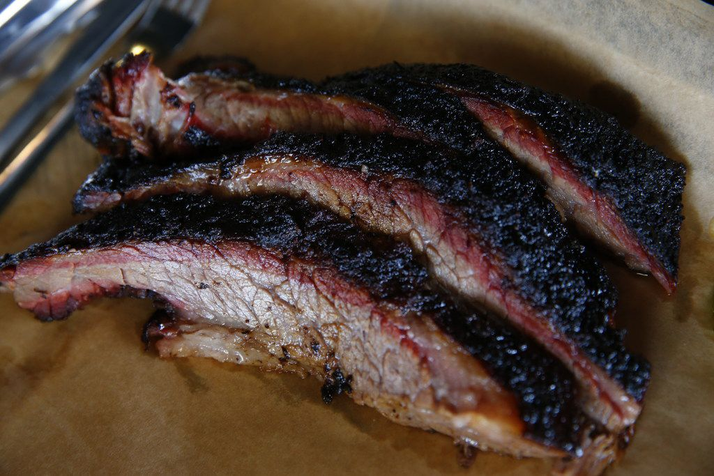 Smoked brisket at Ferris Wheelers Backyard & BBQ in Dallas on Sept. 25, 2017.   (Nathan Hunsinger/The Dallas Morning News)