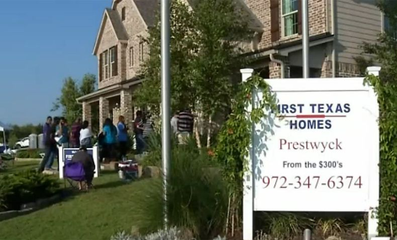 Prospective buyers lined up Tuesday to buy lots after camping overnight outside the business center at First Texas Homes' Prestwyck development in McKinney.