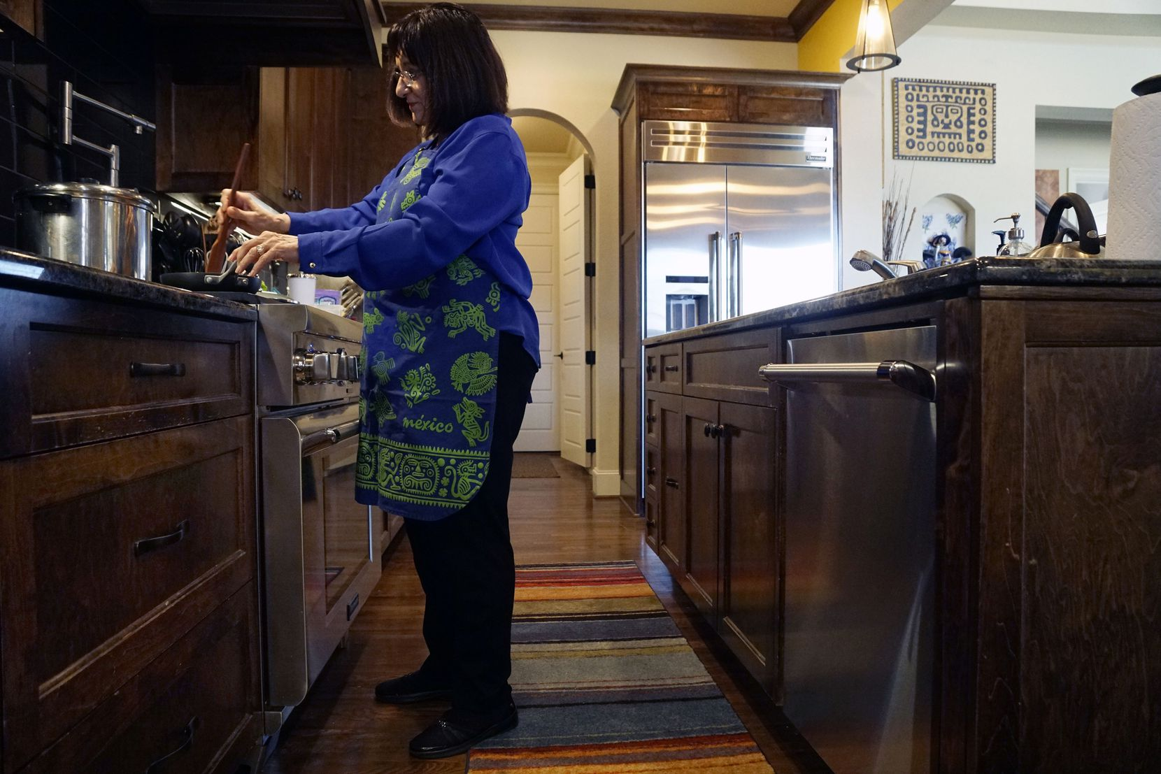 Lower than normal counters in the kitchen are among several features in Eva Bonilla's age proof home in Fort Worth, Texas on Monday January 21, 2019.