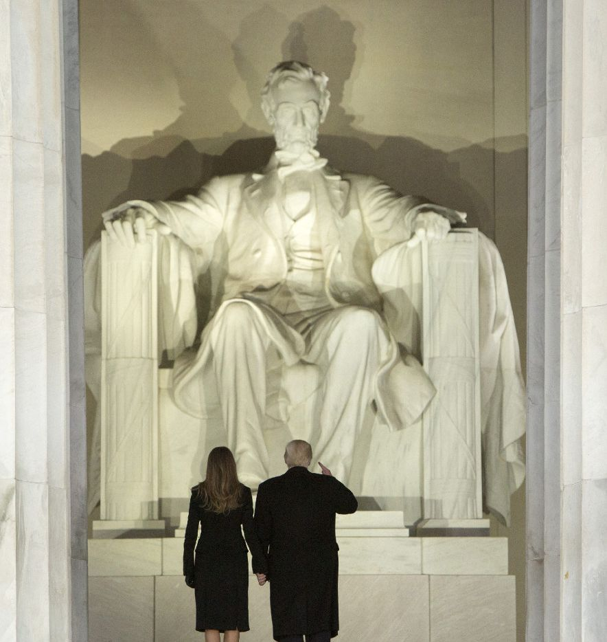 President-elect of The United States Donald J. Trump and first lady-elect Melania Trump arrive at the 'Make America Great Again Welcome Celebration' concert at the Lincoln Memorial on Jan. 19, 2017 in Washington, D.C.