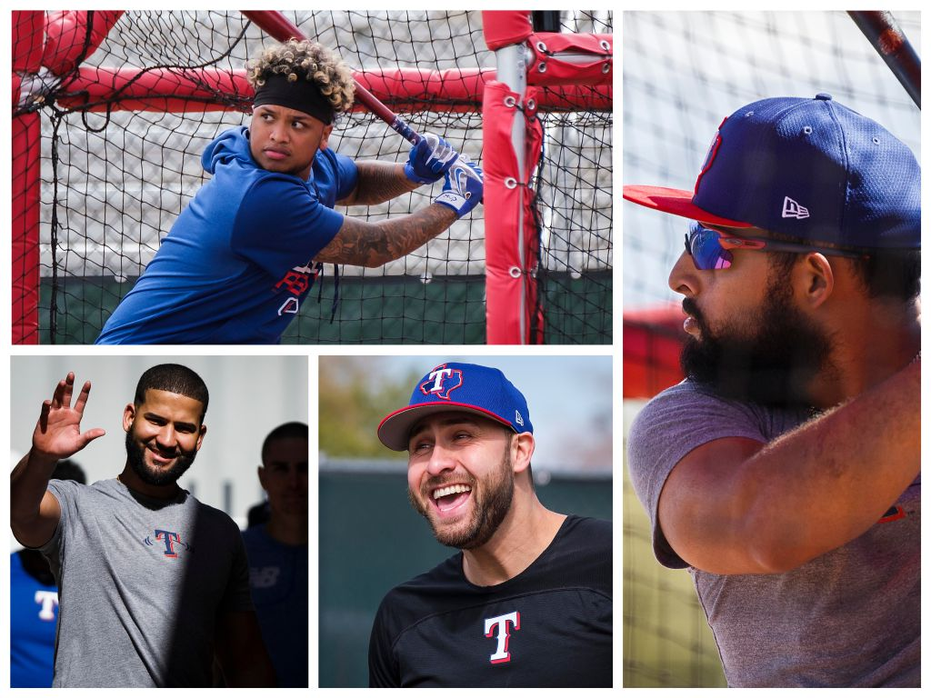 The Texas Rangers could have six everyday players hitting from the left side of the plate in 2019. Clockwise from top left: Willie Calhoun, Rougned Odor, Joey Gallo and Nomar Mazara.