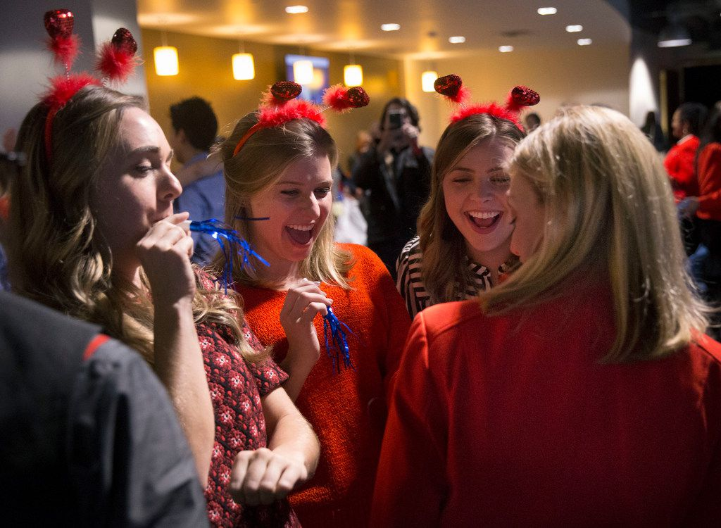 From left: Sisters Kaci Rood, Kenna Sperco and Keelie Luttrell celebrate with their mother, Shari Rood, a new Southwest Airlines flight attendant, after she earned her wings at the Southwest Airlines Training and Operational Support building in Dallas on Feb. 1, 2019.