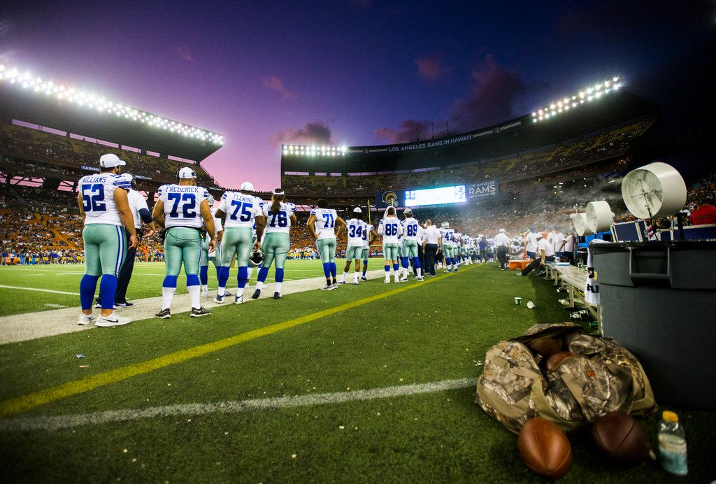 Dallas Cowboys line up on the sideline during the fourth quarter of an NFL preseason game between the Dallas Cowboys and the Los Angeles Rams on Friday, August 17, 2019 at Aloha Stadium in Honolulu, Hawaii. (Ashley Landis/The Dallas Morning News)