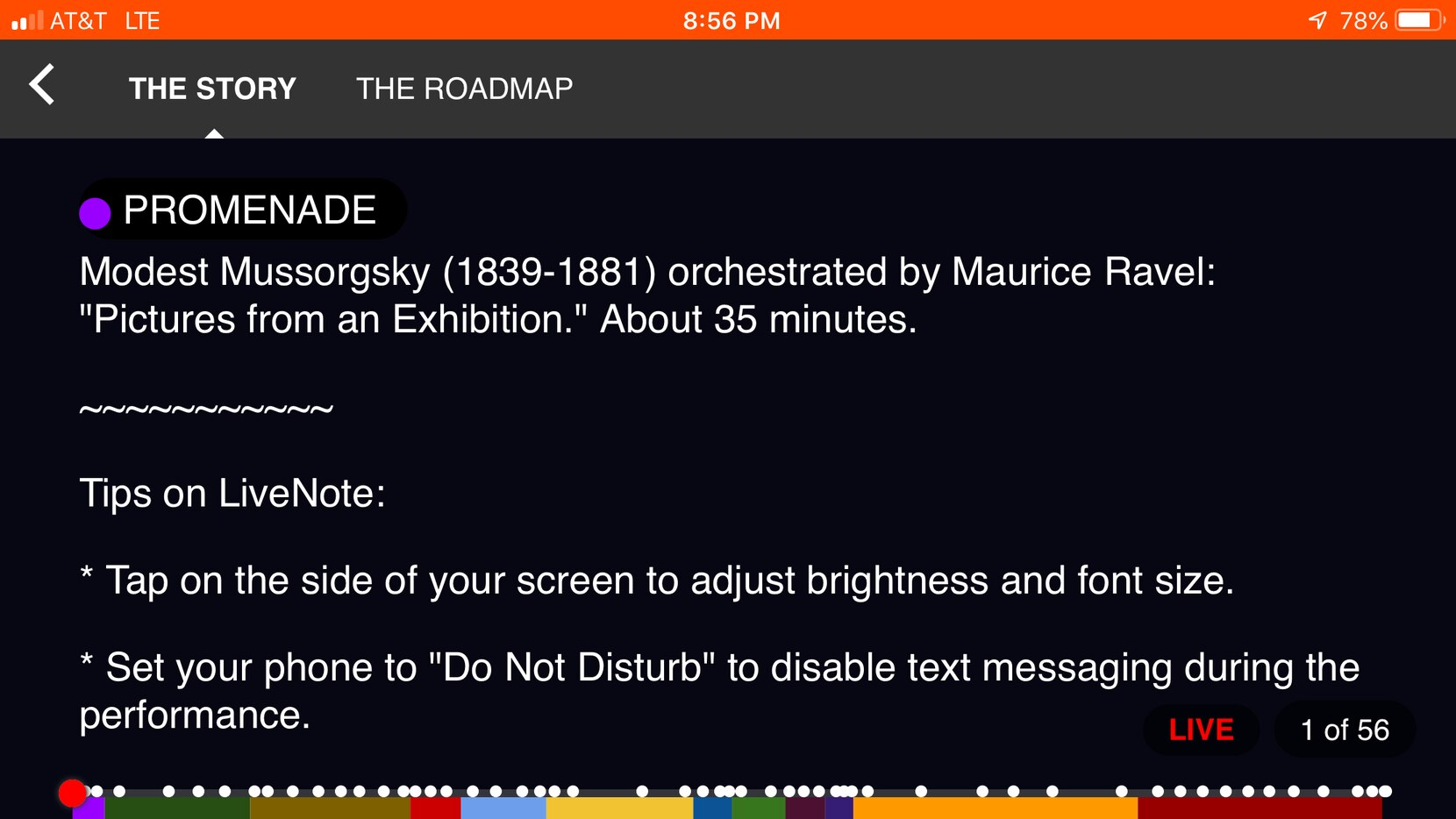 Screen capture of LiveNote smartphone program notes from a Dallas Symphony Orchestra performance of the Mussorgsky-Ravel Pictures at an Exhibition at the Meyerson Symphony Center in Dallas, on Oct. 20, 2018.