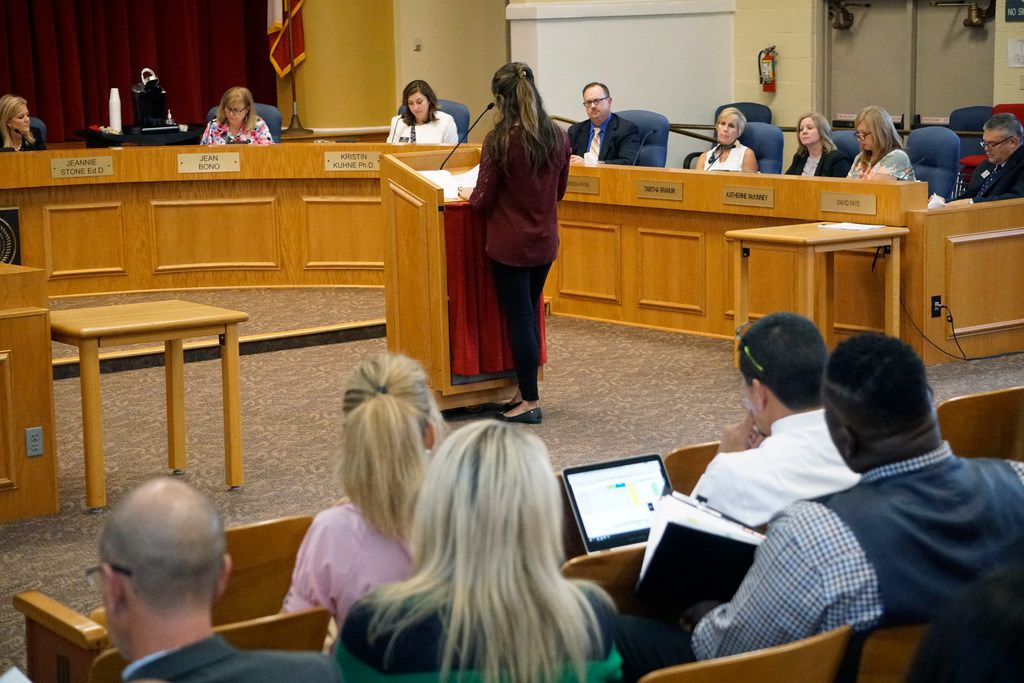 Richardson ISD's school board members listen to a speaker during a meeting about the district's tax ratification election on Aug. 20 at the administration building in Richardson.