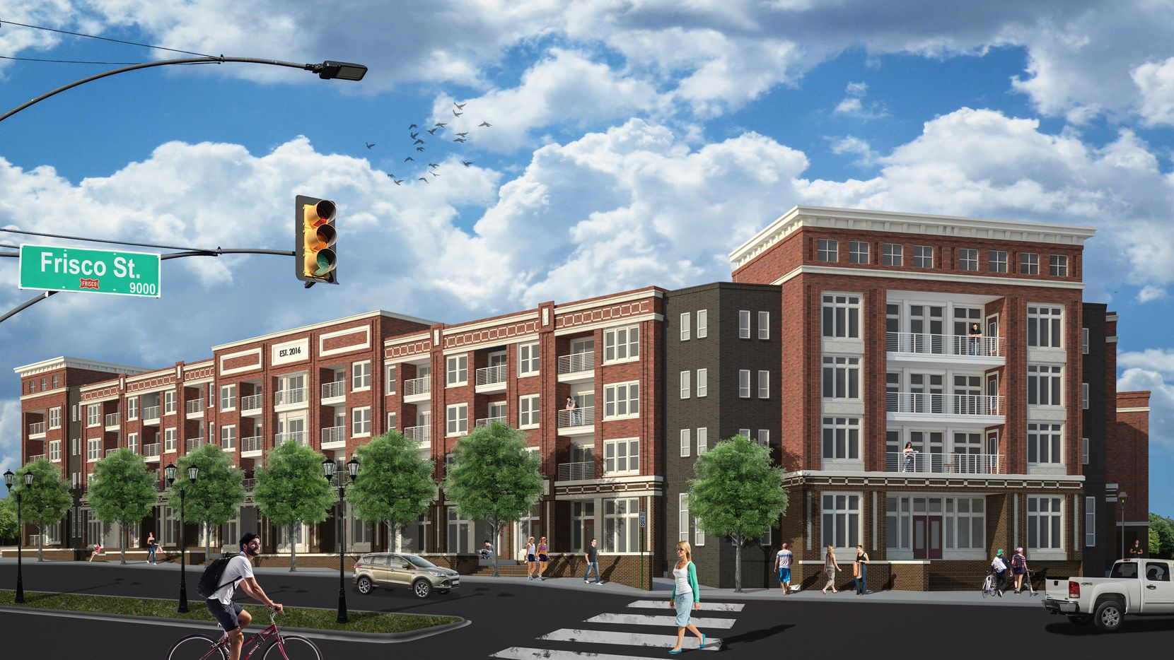 Wood Partners Alta Frisco Square apartments, shown in a rendering, will open next year.