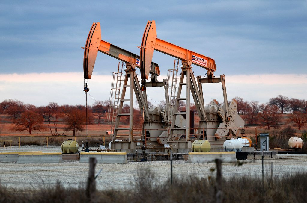 Pump jacks on the Hawk-Falcon 3H and Hawk-Falcon 4H wells pumps oil from the Austin Chalk in Brazos County on Jan. 10, 2018.