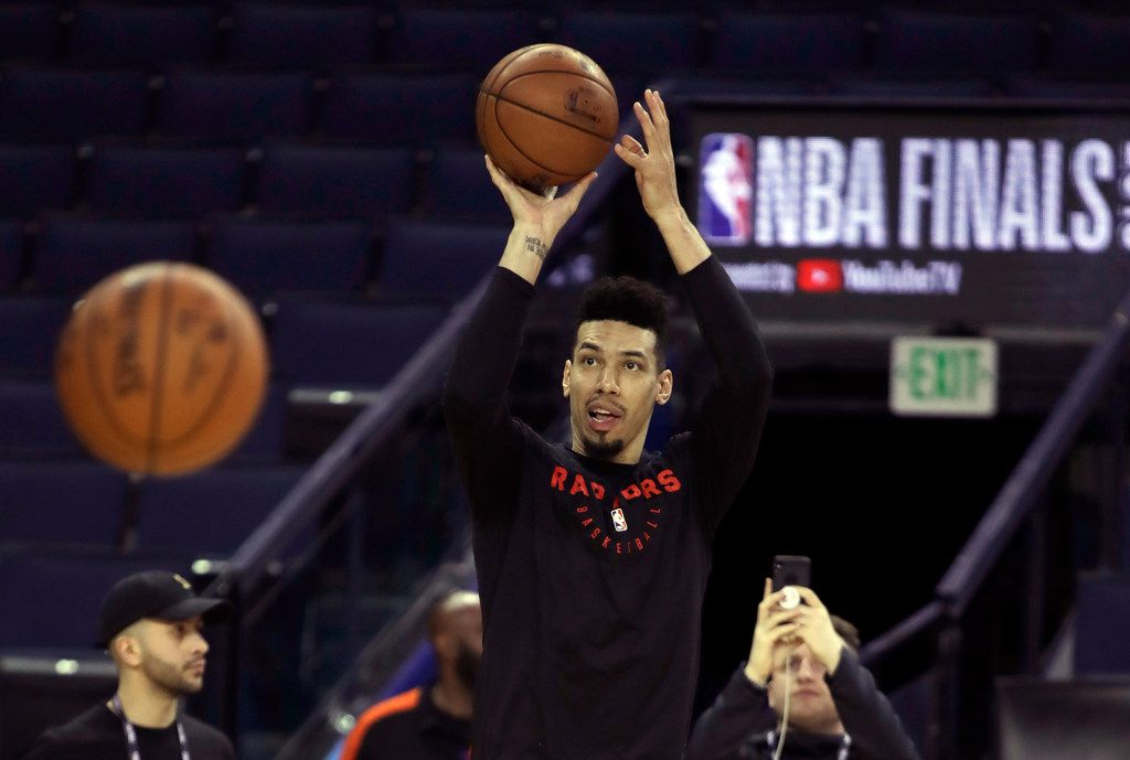 Toronto Raptors' Danny Green shoots during practice for the NBA Finals against the Golden State Warriors Tuesday, June 4, 2019, in Oakland, Calif. Game 3 of the NBA Finals is Wednesday, June 5, 2019 in Oakland, Calif. (AP Photo/Ben Margot)