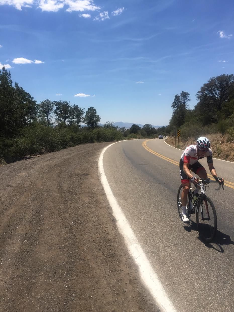 Craig Miller of The Ticket radio rides through Arizona as part of the 3,070-mile Race Across America relay he and 7 teammates completed in June.