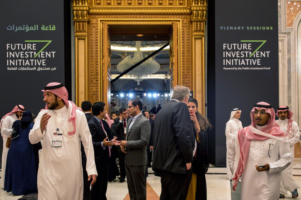 Attendees on the third day of the Future Investment Initiative conference in Riyadh, Saudi Arabia, on Thursday, Oct. 25, 2018. The killing of the dissident journalist Jamal Khashoggi has cast a shadow over the conference.