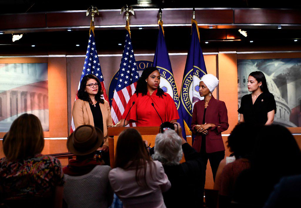 U.S. Rep. Ayanna Pressley speaks during a news conference with fellow Reps. Rashida Tlaib, Ilhan Omar and Alexandria Ocasio-Cortez (D-NY) to address remarks made by President Donald Trump.