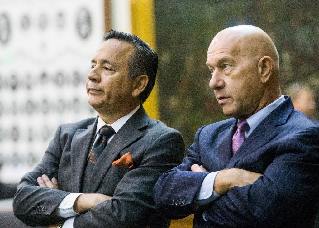 Senator Carlos Uresti and Senator John Whitmire listen to proceedings during a midnight session during the third day of a special legislative session on Thursday, July 20, 2017 at the Texas state capitol in Austin, Texas. The midnight session was called to read and pass the Sunset Bill.