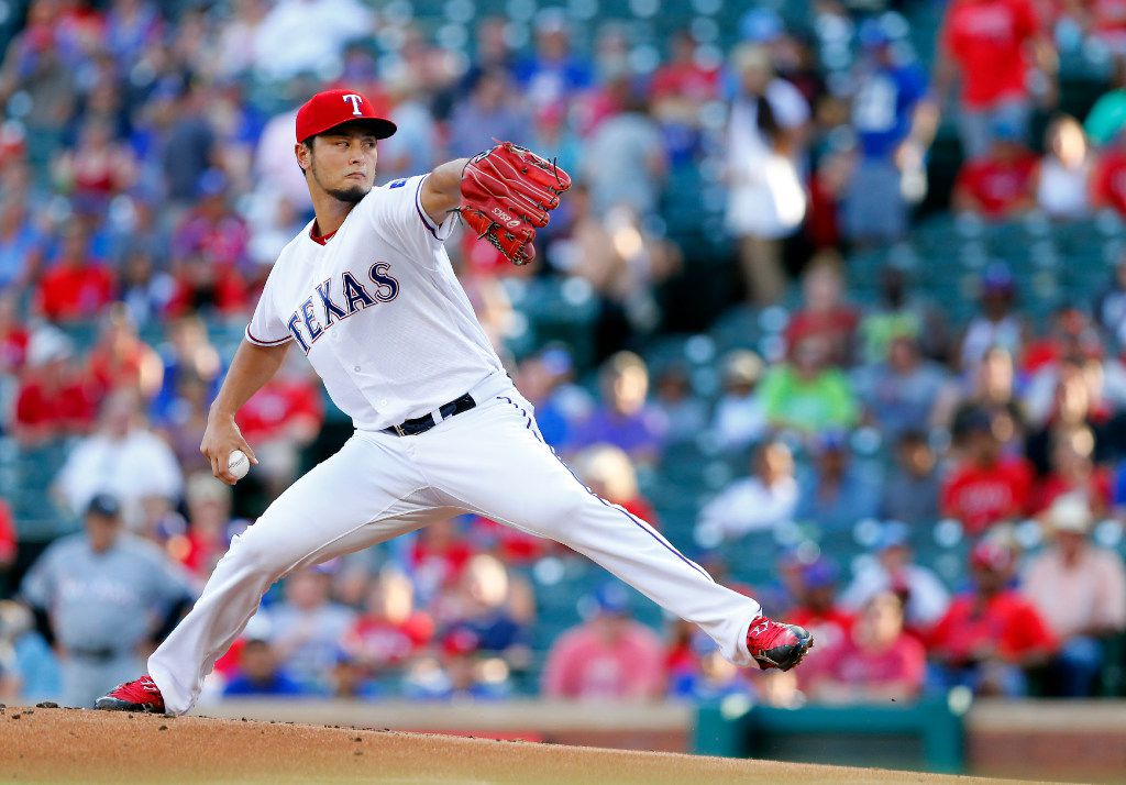 Texas Rangers starting pitcher Yu Darvish throws against the Miami Marlins in the first inning at Globe Life Park in Arlington, Wednesday, July 26, 2017. (Tom Fox/The Dallas Morning News)