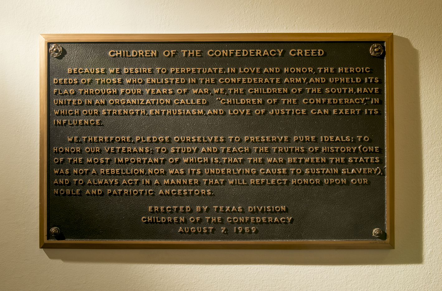 "The ""Children of the Confederacy Creed"" plaque at the Capitol on Thursday August 17, 2017."