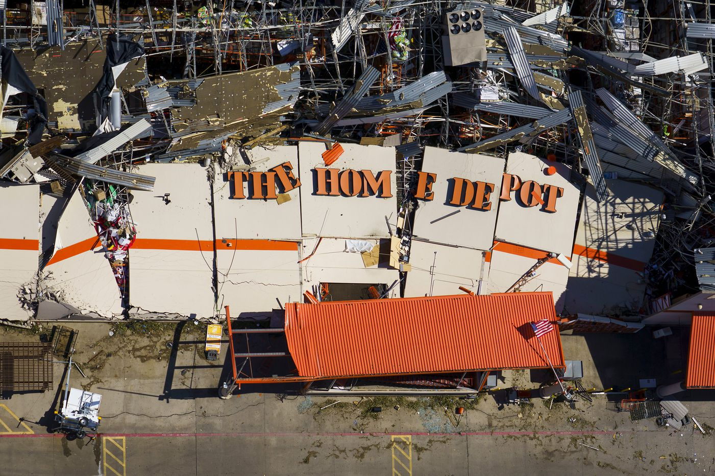 The destroyed Home Depot store at 11682 Forest Central Drive is seen after tornado damage on Monday, Oct. 21, 2019, in Dallas.