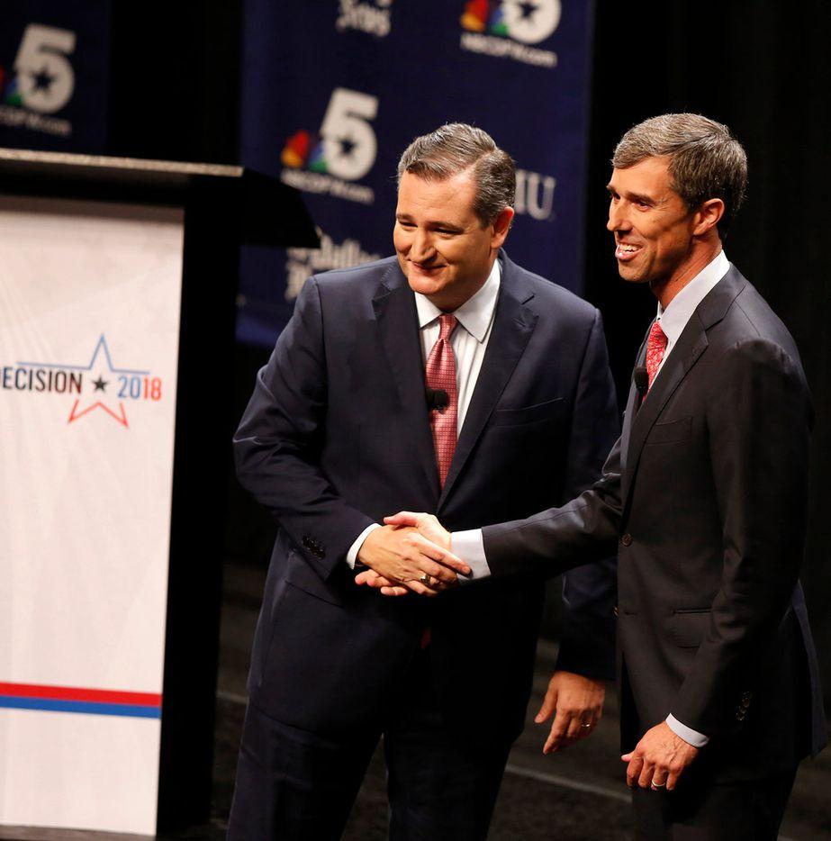 Sen. Ted Cruz and U.S. Rep. Beto O'Rourke after a debate at McFarlin Auditorium at Southern Methodist University in Dallas on Sept. 21, 2018. (Nathan Hunsinger/Dallas Morning News)