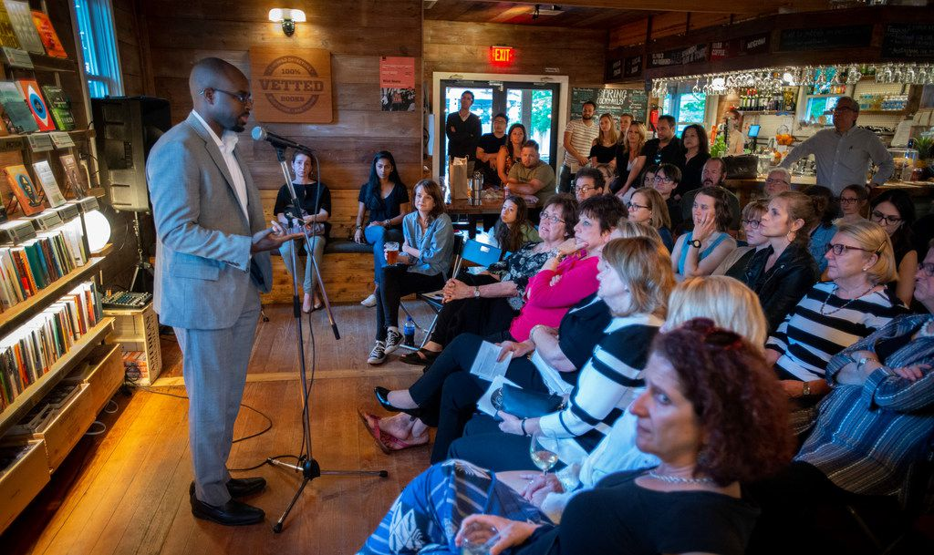Dr. Dale Okorodudu tells his story during the Story Collider event at Wild Detectives in Dallas. His experiences with racism in medical school led him to found two groups to raise awareness: Black Men in White Coats and DiverseMedicine Inc.