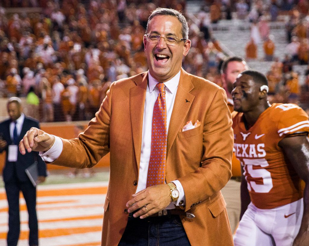 FILE - Texas Longhorns Athletic Director Chris Del Conte smiles after a 37-14 win over the USC Trojans on Saturday, September 15, 2018 at Darrell K Royal Memorial Stadium in Austin, Texas. (Ashley Landis/The Dallas Morning News)